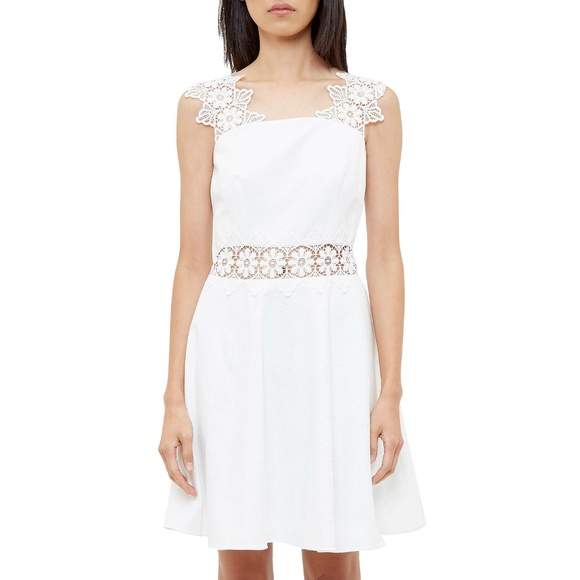 f91f0f0c17506 NWT Ted Baker Monaa White Lace Trim A-Line Dress
